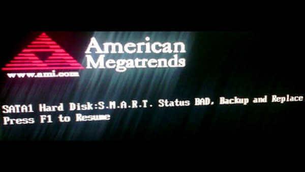 Ошибка: Hard Disk: SMART. Status bad. Backup and replace error. Как убрать?